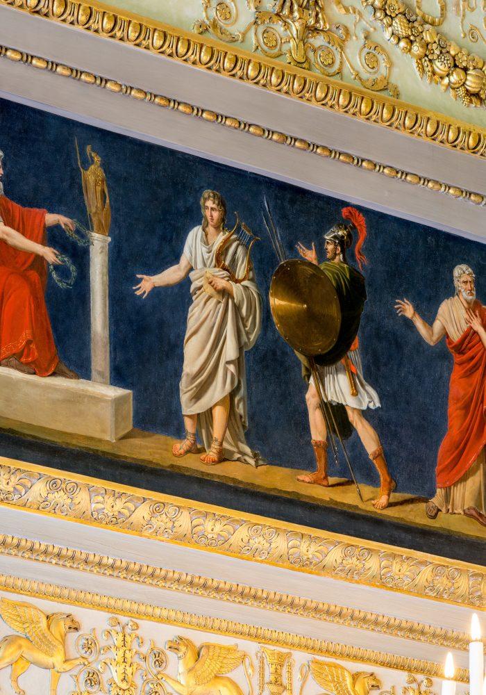 """Restauration du """"Salon des Quatre saisons"""", par l'Atelier Mériguet-Carrère, à l'Hôtel de Beauharnais."""